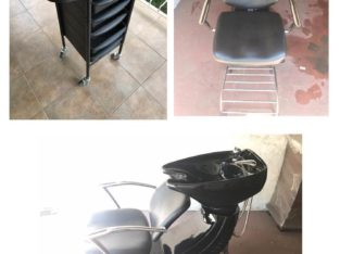 Salon hair washbasin and chair combo plus hairdresser trolley