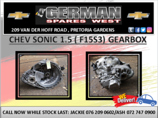 CHEV SONIC 1.5 9 F15S3) GEARBOX FOR SALE
