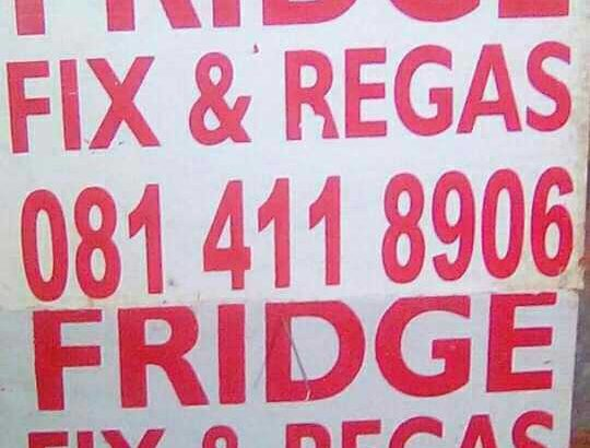 FRIDGE REPAIR AND. RE-GAS