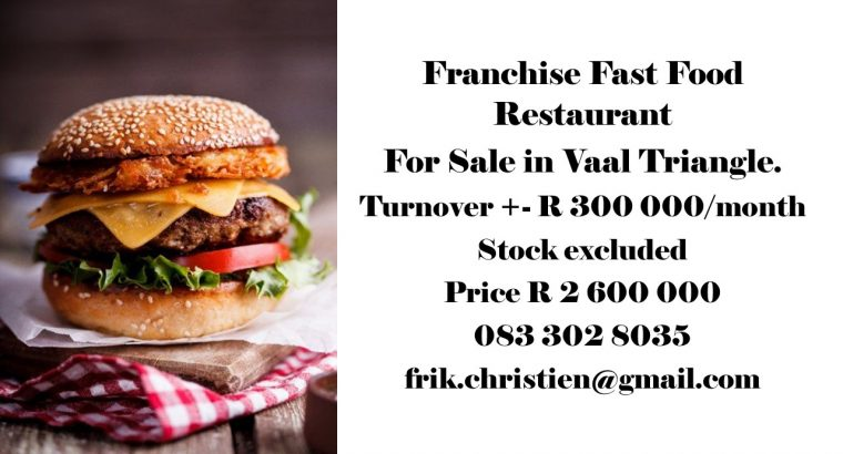 Franchise Fast Food Restaurant For Sale in Vaal