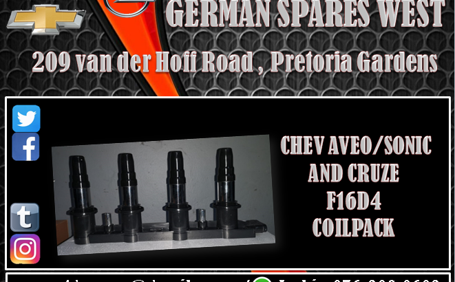 CHEV AVEO / SONIC AND CRUZE F16D4 COILPACK