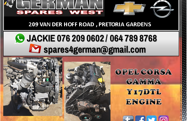 OPEL CORSA GAMMA Y17DTL ENGINE FOR SALE