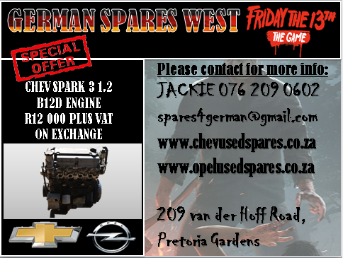 CHEV SPARK 3 USED B12D ENGINE FOR SALE