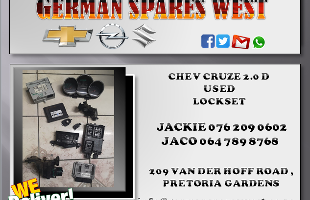CHEV CRUZE 2.0D USED LOCKSET FOR SALE W