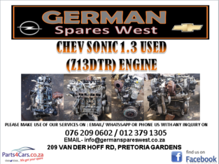 CHEV SONIC 1.3 USED ( Z13DTR) ENGINE FOR SALE