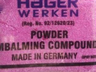HAGER WERKEN EMBALMKING POWDER PRICES +27839281381