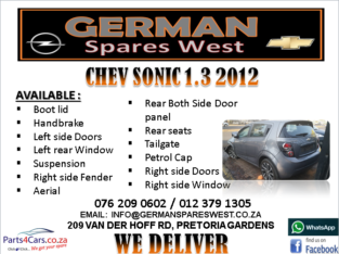 CHEV SONIC 1.3 2012 SPARE PARTS AVAILABLE