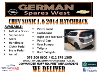 CHEV SONIC 1.6 2014 SPARE PARTS AVAILABLE