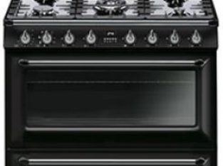 Smeg 90cm Victorian Black 5 Burner Gas / Electric