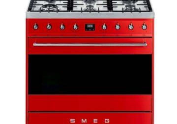 Smeg 90cm Red Symphony 6 Burner Gas Cooker
