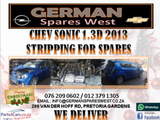 CHEV SONIC 1.3D 2013 STRIPPING FOR SPARES