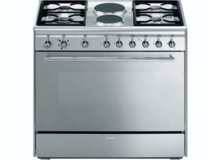 SMEG – 90cm 4 Burner Gas/ 2 Electric Cooker.