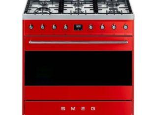 Smeg 90cm Red Symphony 6 Burner Gas Hob Cooker