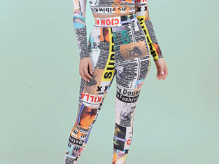 Fashion Sexy Newspaper Tight Stretch Two Pcs Set