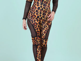 Fashion RK Zip-Up Tight Stretch Leopard Jumpsuits