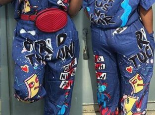 Cartoon Printing One-Piece Jumpsuits -Denim Print
