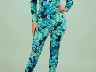 Fashion RK High Neck Tight Stretch Camo Jumpsuits