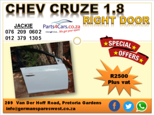 CHEV CRUZE 1.8 2010 USED RIGHT DOOR FOR SALE
