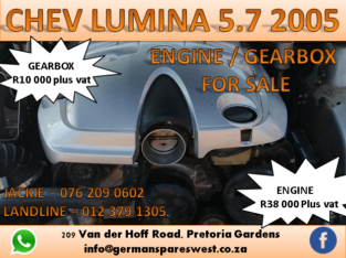 CHEV LUMINA 5.7 2005 ENGINE AND GEARBOX FOR SALE