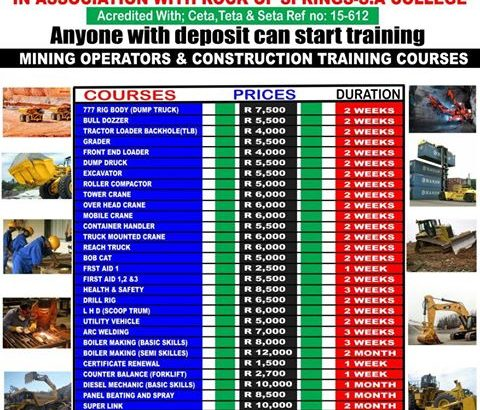 SA MINING COLLEGE-tlb,front end loader training +27739110468