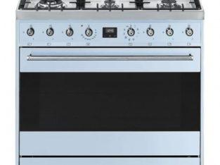 Smeg – 90CM Symphony 6 Burner Gas / Electric Oven – Pastel Blue