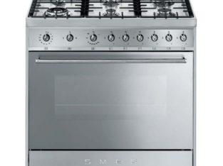 Smeg 90-cm Red Symphony 6 Burner Gas Hob Cooker / Electric Oven