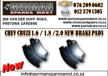 CHEV CRUZE 1.6 / 1.8 / 2.0 NEW BRAKE PADS FOR SALE