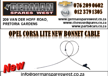 OPEL CORSA LITE NEW BONNET CABLE FOR SALE