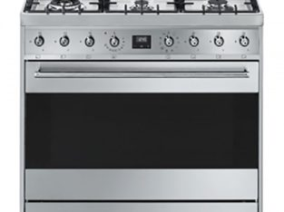 Smeg 90cm Silver Stainless Steel 6 Burner Gas Hob/Electric Stove