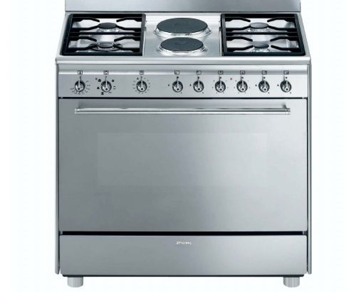 SMEG – 90cm 4 Burner Gas/ 2 Electric Cooker – Model: SSA92MFX9
