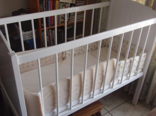 Baby Cot Complete -wooden – with mattress, bumper pads