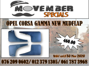 OPEL CORSA GAMMA NEW MUDFLAPS – SPECIAL -R 460.00