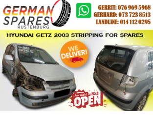 HYUNDAI GETZ 2003 STRIPPING FOR SPARES!!!