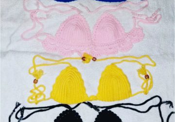 Knitted summer crop tops