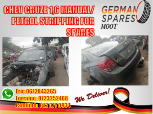 CHEV CRUZE 1.6 MANUAL/PETROL STRIPPING FOR SPARES