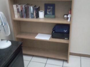 Heavy wooden book shelf, good condition