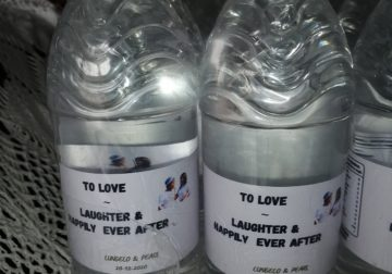 Personalized labels bottles with water 0744607777