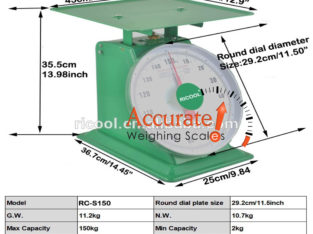 Dial mechanical table top weighing scales with flat plate