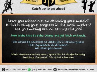 GED / matric WORKERS DAY SPECIAL R1000 off