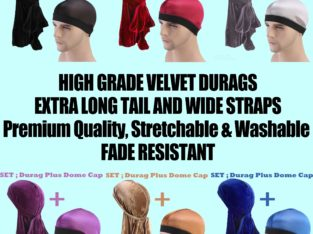 High Quality Velvet Durags + dome Cap-Bandanas/Turbans/Hats/Caps/