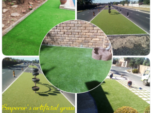 Artificial grass and paving.