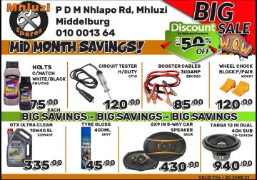 Mid Month Savings now on at Mhluzi Spares!