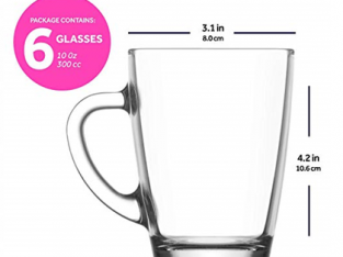 6-Piece Roma Coffee Cup Set Clear 155ml