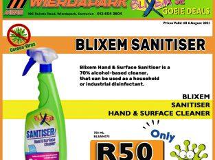 Blixem Sanitiser Hand & Surface Cleaner 750ML ONLY R50