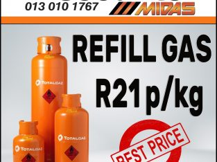 Refill Gas ONLY R21p/kg at Discounter Midas!
