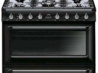 New Smeg 90cm Victorian Black 5 Burner Gas/Electric- TR90BL9