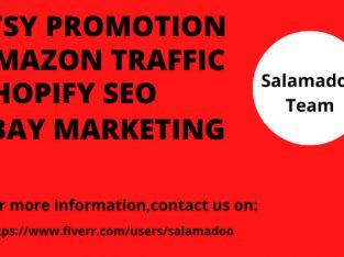 I will do etsy promotion,amazon traffic,shopify SEO, ebay marketi