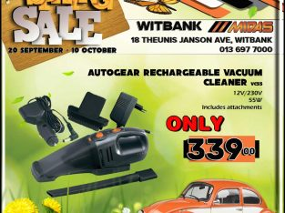 Autogear Rechargeable Vacuum Cleaner ONLY R339 at Midas Witbank!