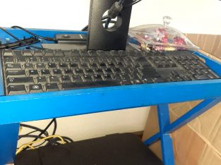 DELL COMPUTER WITH STAND, KEYBOARD, 2 SCREENS AND A CANON PRINTER