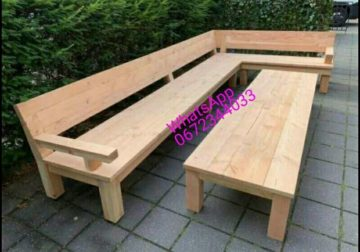 Outdoor and indoor wooden benches